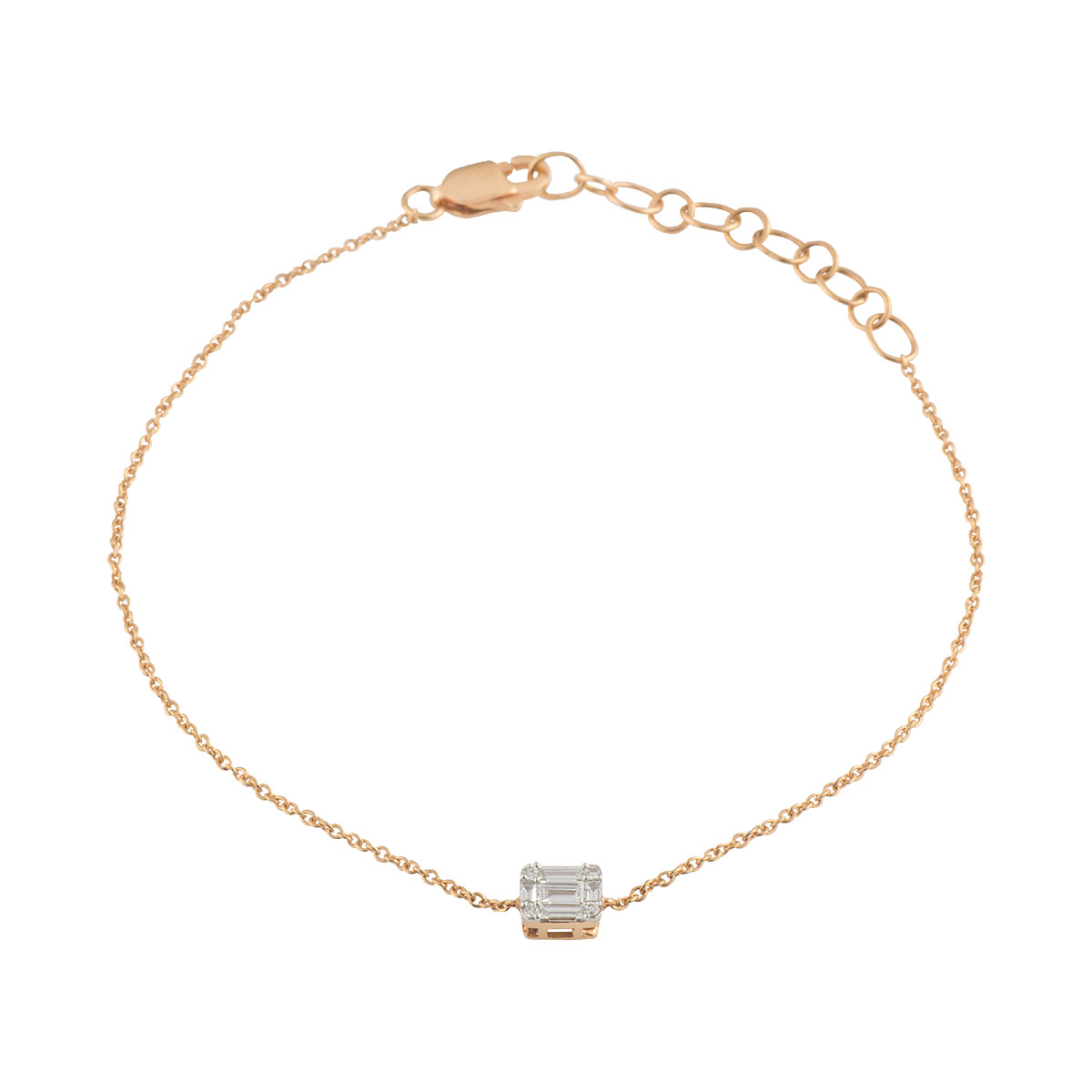 Rose Gold Cluster Diamond Bracelet 0.14ct G-H/VS-VVS